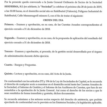 Convocatoria de Junta General Ordinaria de Sesderma S.L.