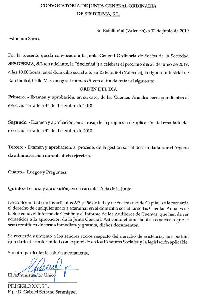 Convocatoria de Junta General Ordinaria de Sesderma S.L.